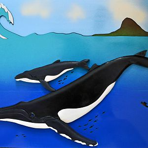 Intarsia Gray Humpback Whale and Calf with Hawaiian Backdrop