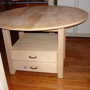 Maple Kitchen Table with Drawers with Leaf