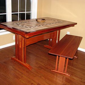 Tile-Topped Lyptus Table and Matching Bench