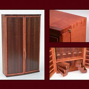 Wall Hung Jewelry Cabinet in Pearwood and Curly Makore