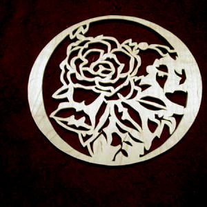 Rose Plaque in Curly Maple