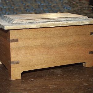 Small cherry box  w/zebra wood top