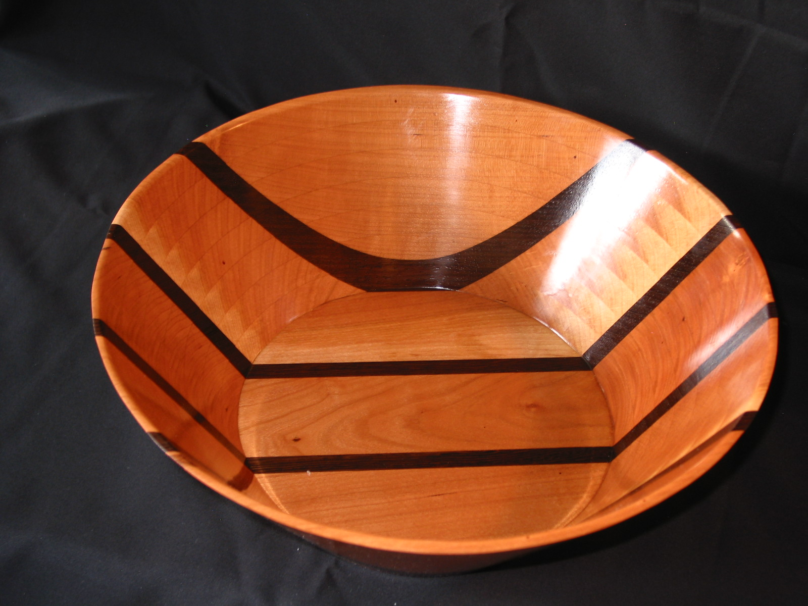 "Cherry & Wenge Bowl made with a Scroll Saw- 14"" diameter"