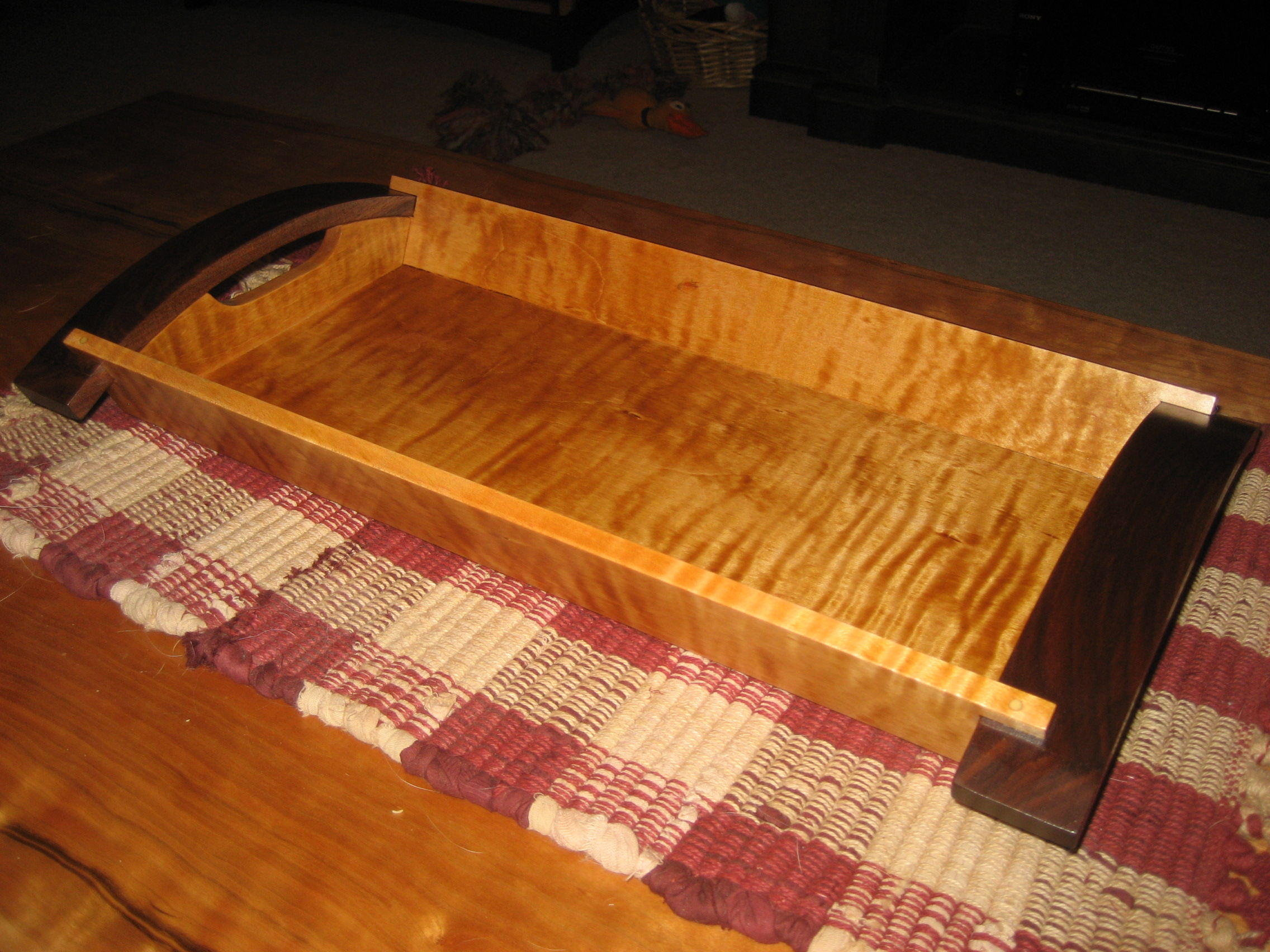 Curly Maple & Black Walnut Serving Tray