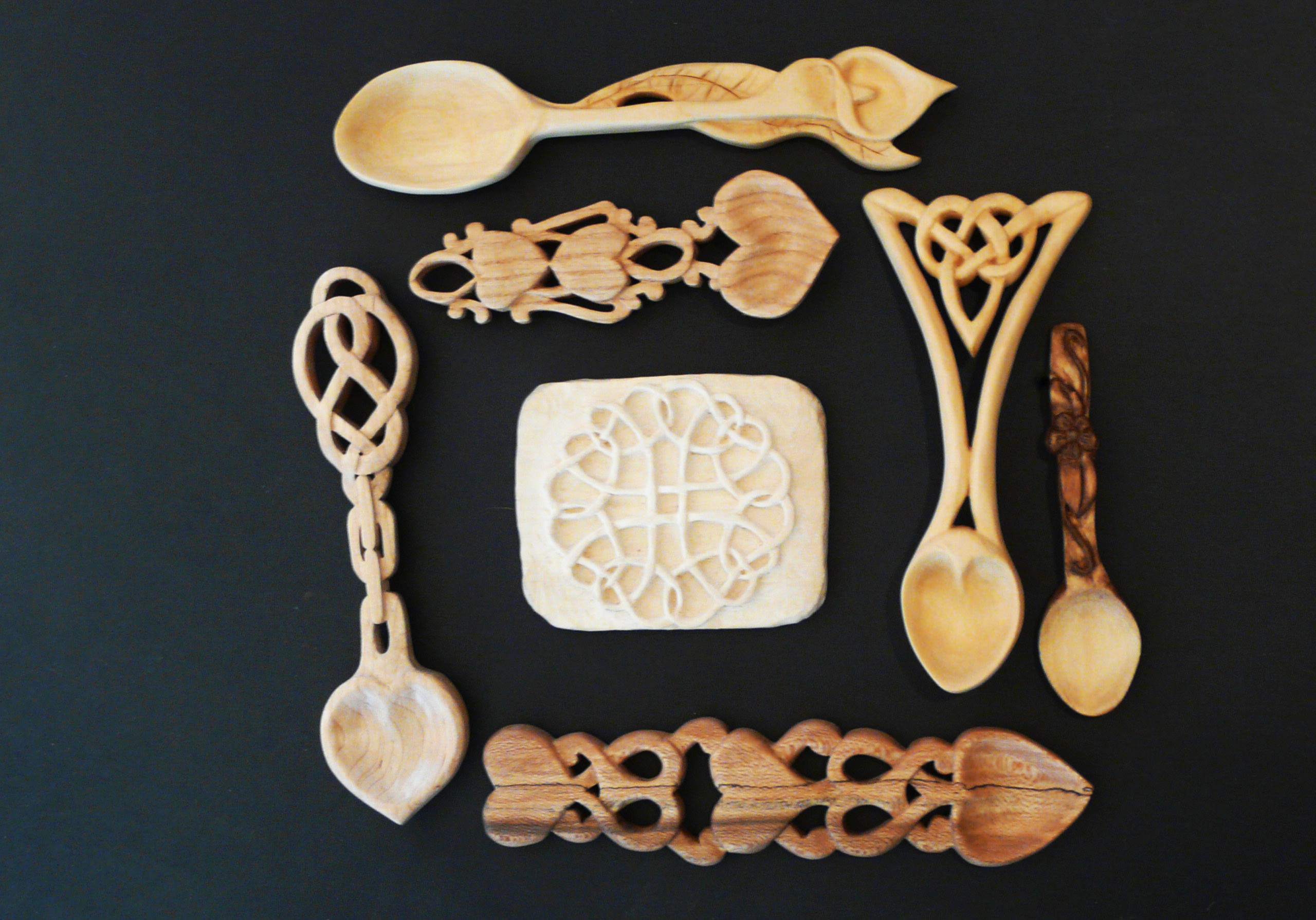 Love spoons and unfinished relief carving